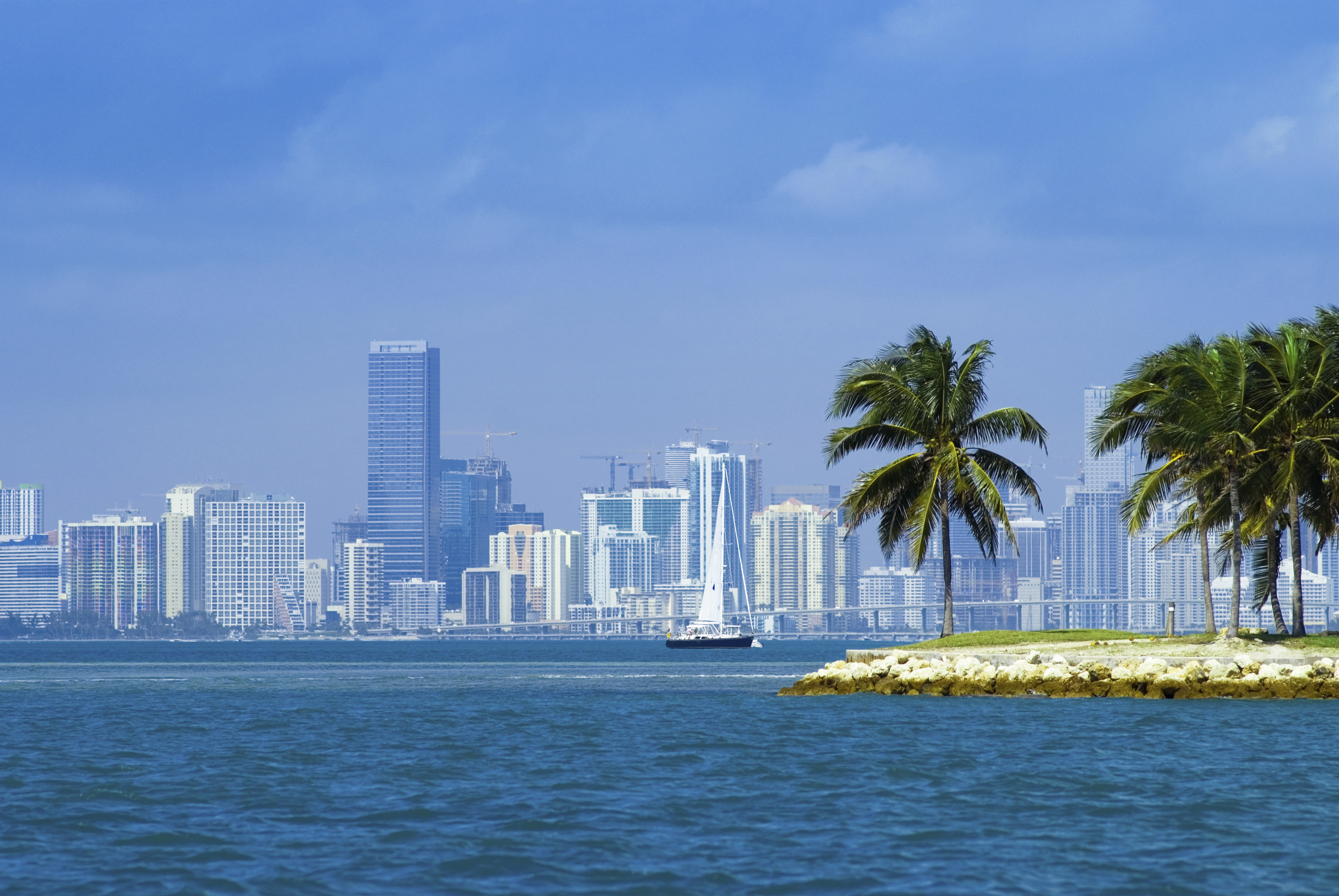 biscayne bay, with the miami downtown as background